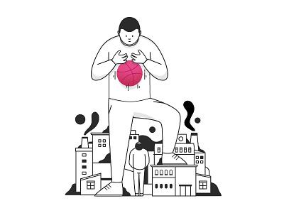 hello Dribbble typogrphy graphic minimal blackandwhite logo avatar icon vector city illustration