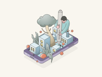 Creativity World character art character concept character design city isometric art isometric design isometric graphic doodle vector illustration icon