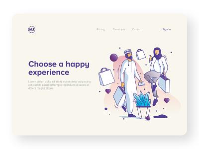 happy experience vector character art avatar doodle illustrator branding graphic web ui minimal design flat ux icon logo illustration character art app