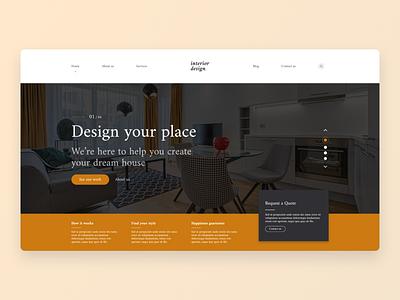 Interior Design Landing Page UI site design web website landing page webdesign concept uxdesign ux ui design