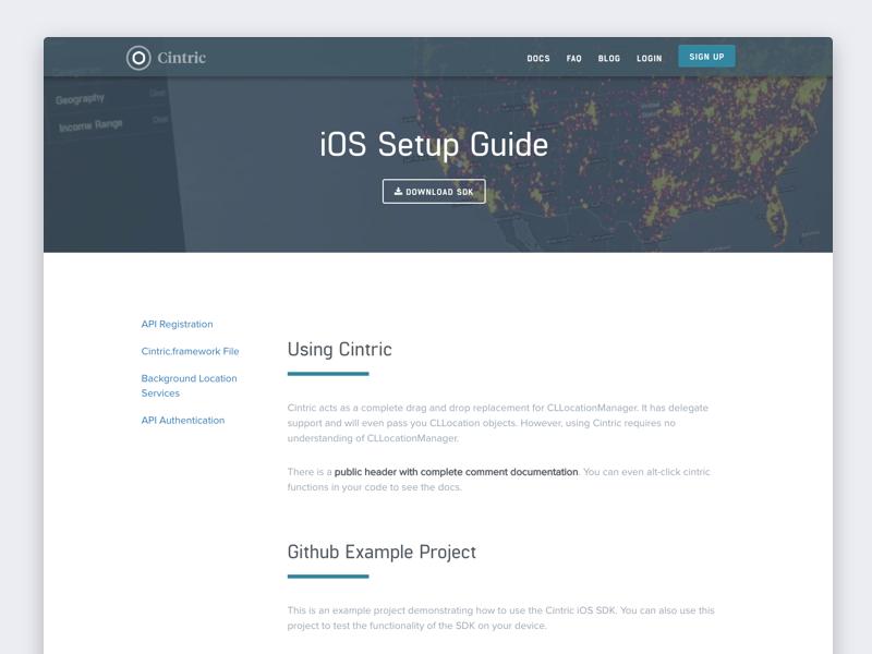 Cintric Homepage - Setup Page dark theme landing page homepage cintric