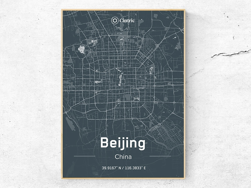 Beijing City Poster typography type logo identity icon branding cincinnati map china dark theme office poster