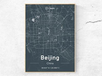 Beijing City Poster typography type logo identity icon branding cincinnati map china dark theme office poster