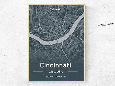 Cincinnati City Poster typography type logo identity icon branding map print dark theme office poster cincinnati