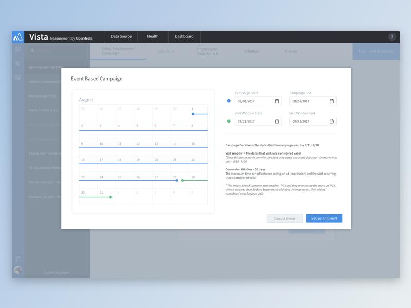 Measurement - Date Picker event picker modal location data light clean design date picker dashboard