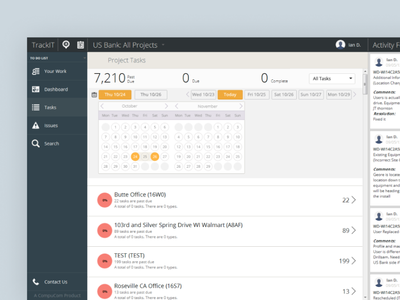 Old design from 2013: TrackIT - Compucom Systems Inc ux user interface ui 2013