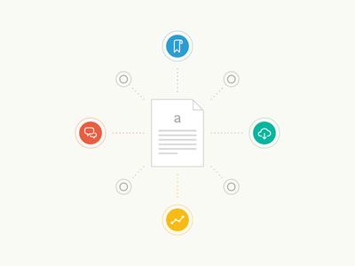 "Academia.edu ""Bookmark, Download, Discuss, Track"" Illustration illustration vector icons paper drawing design"