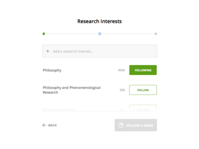 Academia.edu: Research Interest Onboarding button step minimal web interface form sign up app product ui onboarding ux