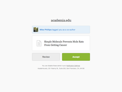 Academia.edu: Invitation Email ui ux product app interface buttons email invite design web