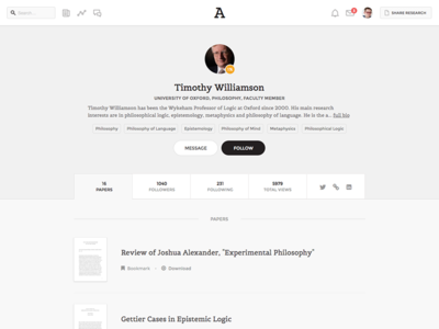 Academia.edu: Experimetal Profile Page Design profile app design web ui ux product research minimal serif user interface clean
