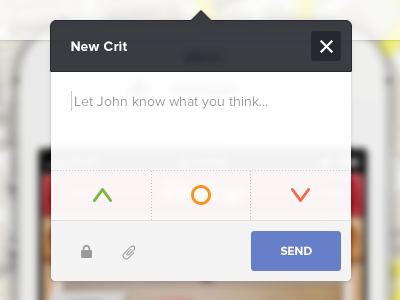 Crit app ui ux web design mobile popover iphone mobile web interaction send message form vote crit