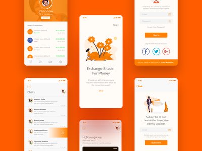 Chiji14xchange Mobile App chat app mobile app design product design gift cards cryptocurrency bitcoin services concept ui ux design brand
