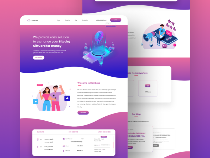 CoinBase - Landing Page product design giftcard bitcoin exchange ethereum bitcoin website concept website design concept illustration ui ux design ui  ux