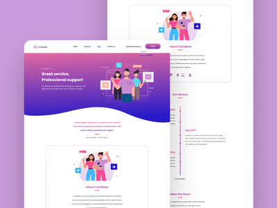 About Us Page ethereum iconography giftcards gradients illustrations product design website design about us bitcoin exchange bitcoin services bitcoin wallet ui ui  ux ui ux design