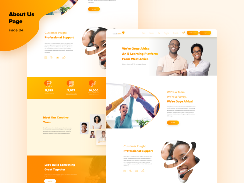 About Us products e-learning africa layout about page about us ui ux designer concept ui ux design ui  ux design