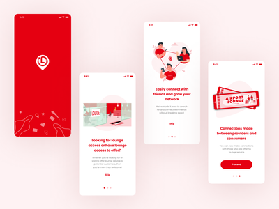 Illustrations onboarding screen mobile app travel connections airport lounge lounge airport ui  ux ui logo illustration