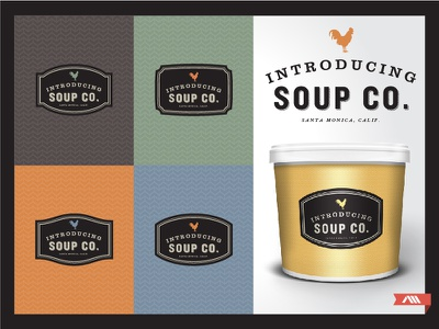 Logo + Packaging Design branding identity logo packaging soup rooster organic label ambient media