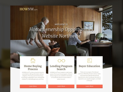 HOWNW.com home page realtor real estate mortgage ux ui website ambient