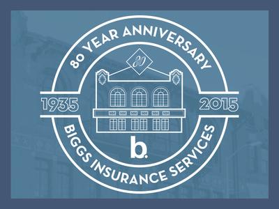 Biggs Insurance 80th Anniversary branding anniversary logo insurance