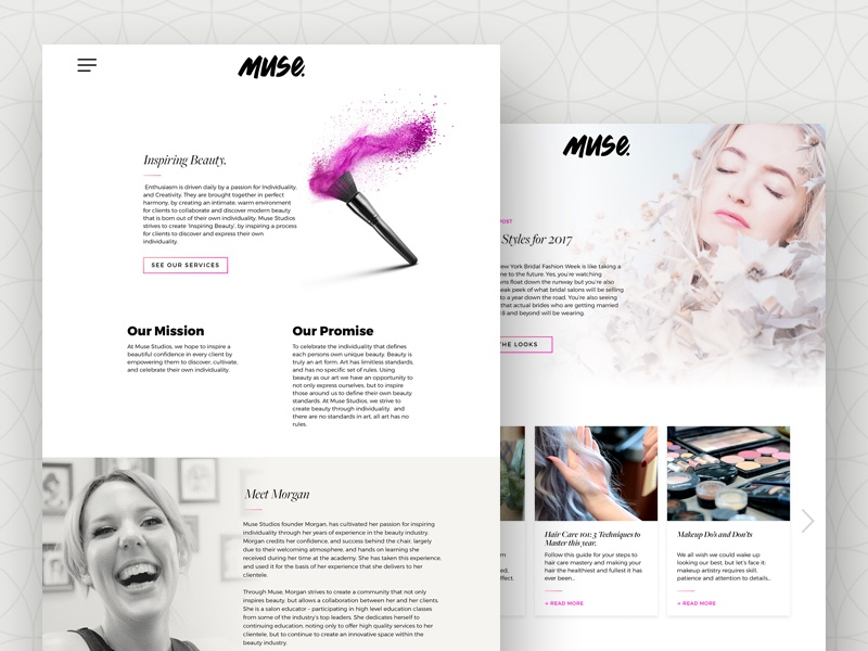 Muse  – About Page mua hair salon makeup artist branding web design user interface ux ui