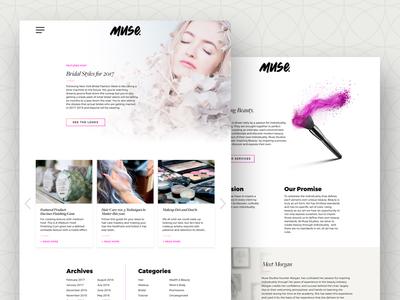 Muse - Blog Index mua hair salon makeup artist branding web design user interface ux ui