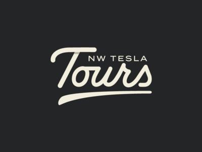 NW Tesla Tours Identity winery tesla brand wordmark typography handlettering script custom lettering logotype logo