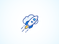 Accelerate to the Cloud vector iconography rocket cloud illustration icon
