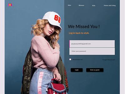 Welcome Back Form For E commerce website form design web ux ui