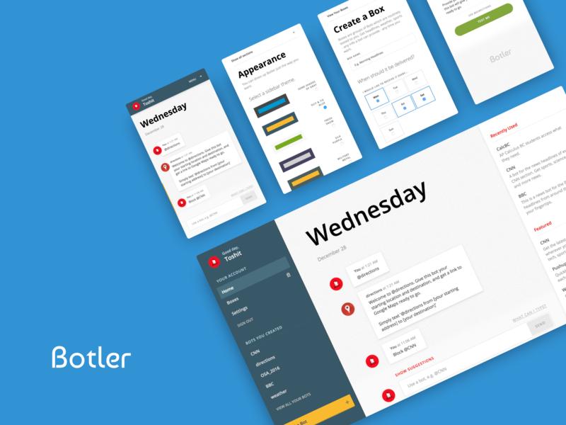 Botler Overview responsive messaging chatbot webdesign design ux ui