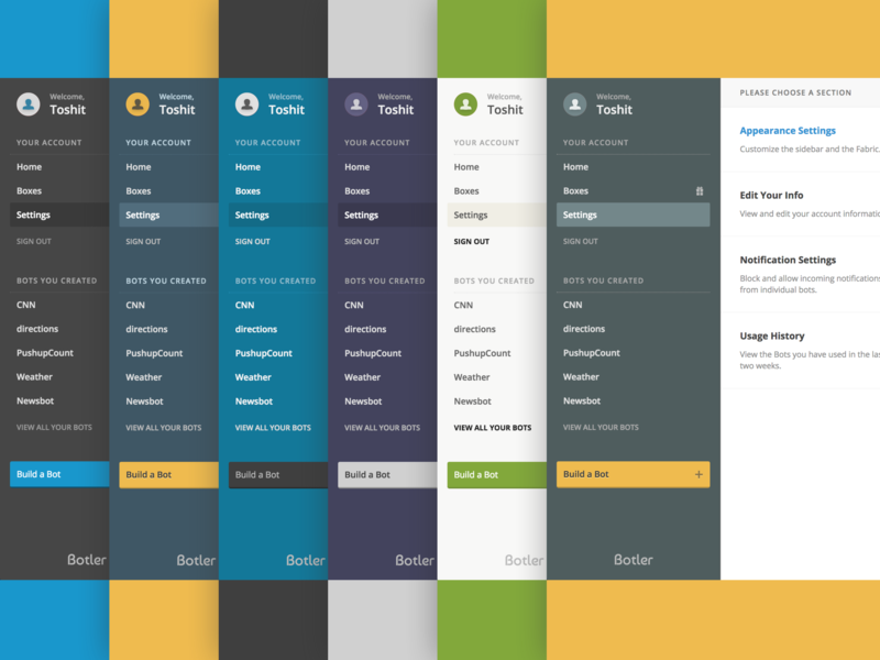 Choose Your Theme web design theme customizable chatbot ux ui