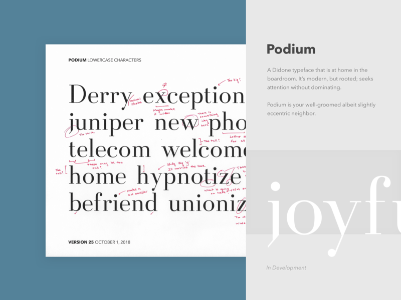 Podium Font Proof and Edits edit wip type proof didone font design typography