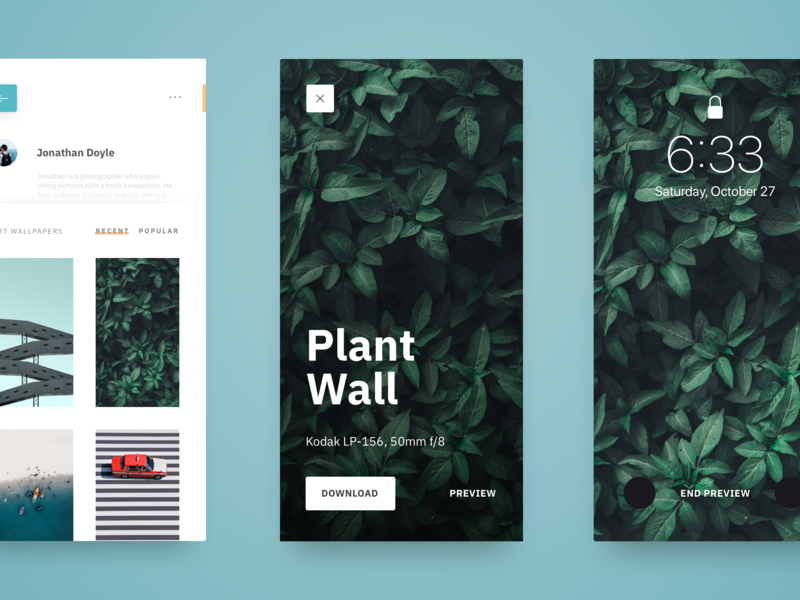 Wallpaper App - Preview Mode app clean design ux ui