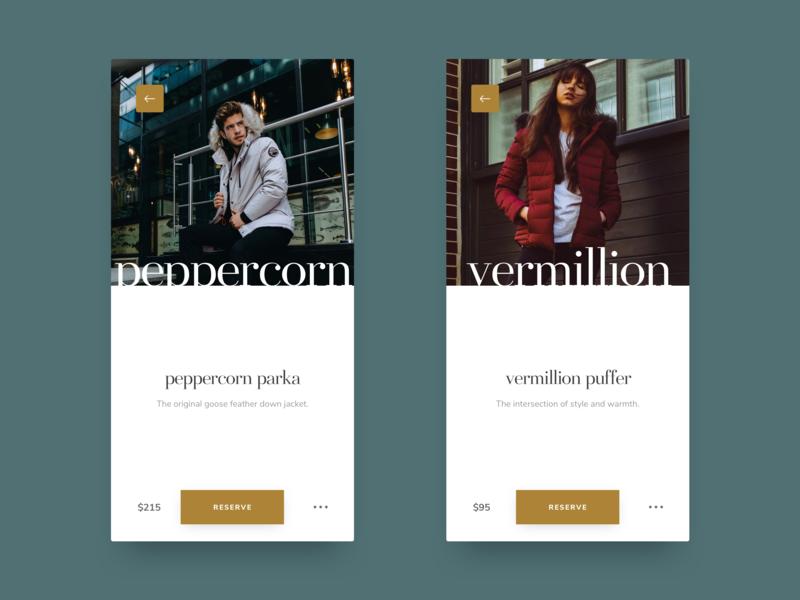 Fashion App - Item Screen fashion app design typography ui