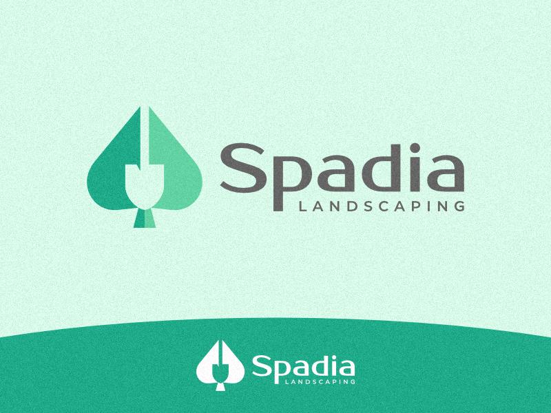 Spadia landscaping symbol mark branding brand identity leaf tree double exposure simple logo home  garden gardening shovel ace of spades garden ace spade landscaping