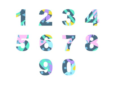 Numbers with abstract fill illustration vector curve splash spot dashboard stroke painting graphic motion chaotic patern sign fill decoration figure textures ornamental digital number