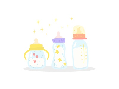 Bottles for feeding nippel illustration vector cartoon mother motherhood care love childhood kid infant newborn baby baby formula milk pacifier bottle