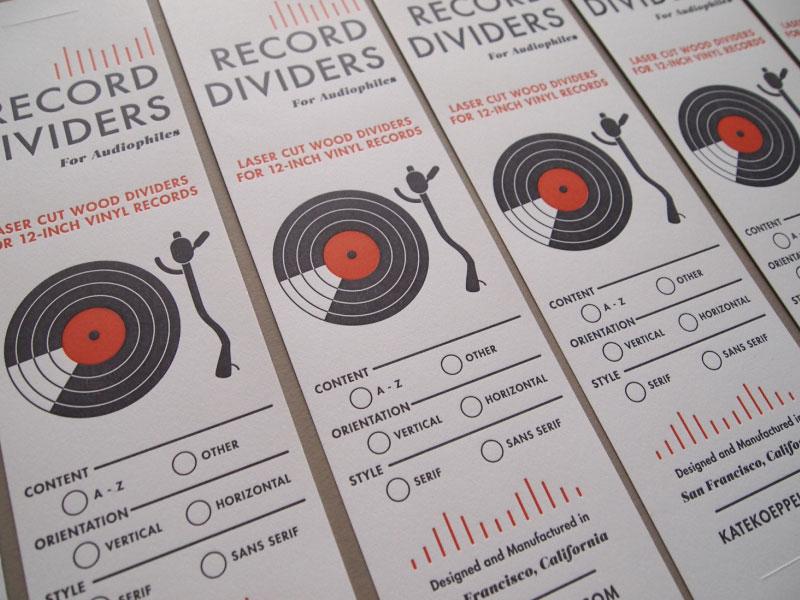Record Divider Labels letterpress print packaging label vinyl music records handmade