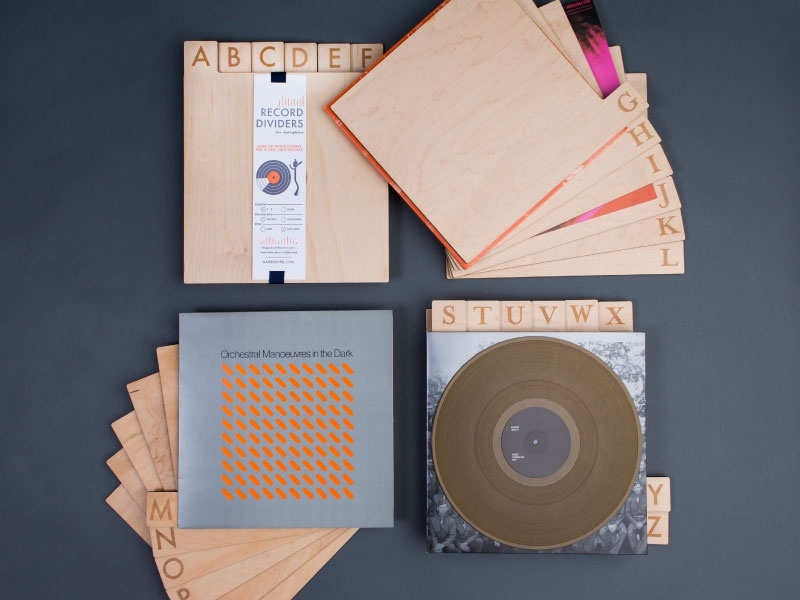 Record Dividers Full Collection 2013 product design letterpress music vinyl laser cut wood