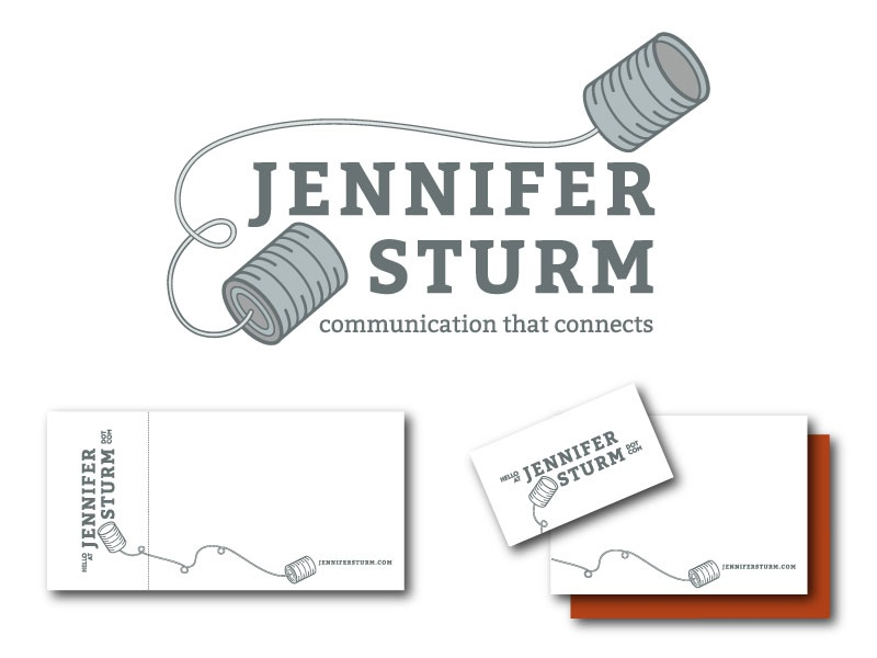 Jennifer Sturm  Dribbble illustration tin can telephone logo communication