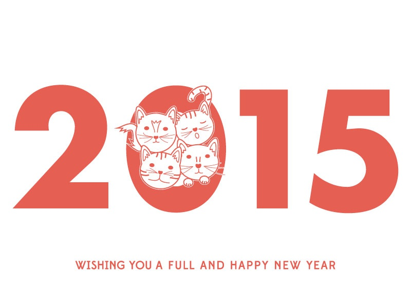 Feline 2015 Holiday Card happy new year 2015 illustration cats illustrator