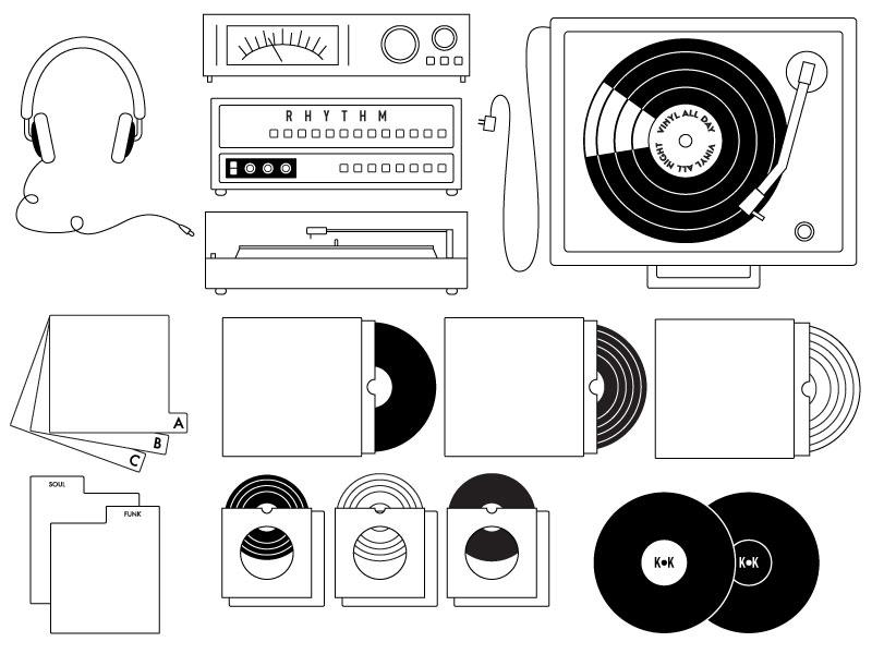 Vinyl Illustrations vector line drawings turntable vinyl records music organization analog