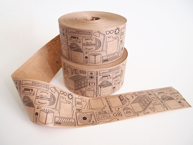 Packing tape (of my dreams) repeat pattern icon line drawing paper tape custom tape
