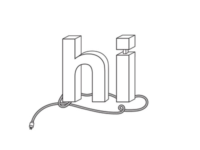 Illuminated HI sign