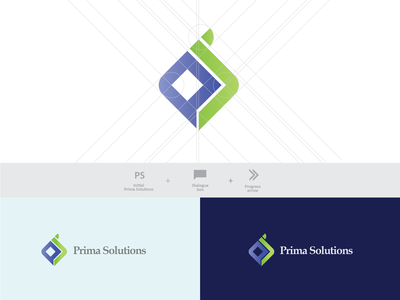 Logo Prima Solutions art icon typography vector type web minimal illustrator identity flat illustration logo branding graphic design design