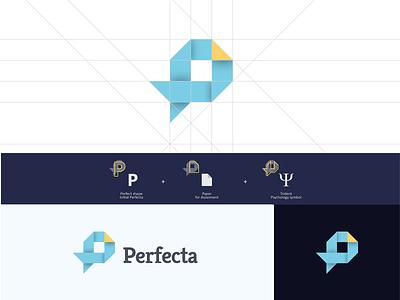 Logo Perfecta blue character brand lettering typography ui art vector web type minimal illustrator identity flat illustration logo branding layout graphic design design