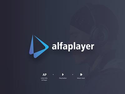 Logo alfaplayer (Unused) icon character brand art vector flat minimal illustrator identity layout illustration logo graphic design design branding