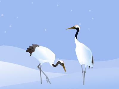 雪地里的两只丹顶鹤