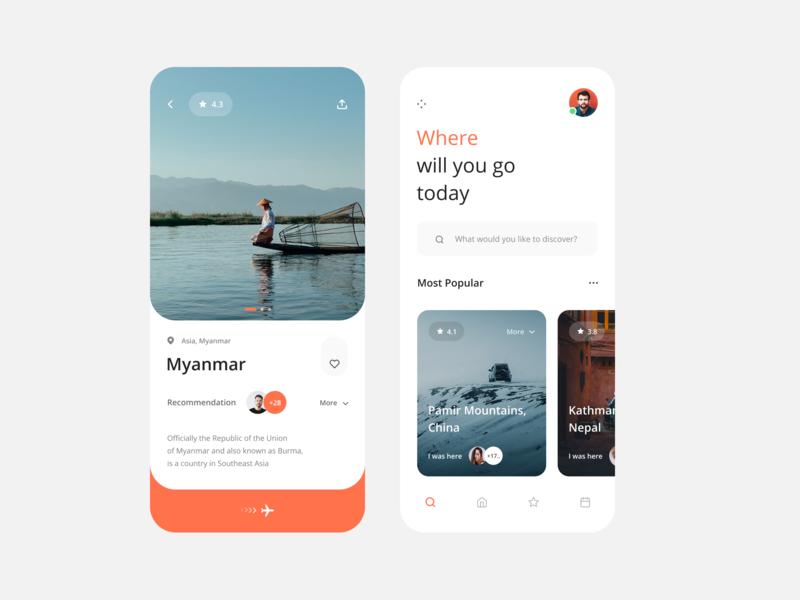 Travel App mobile traveling travel minimal clean app design web ux ui