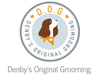 D.O.G Denby's Original Grooming. holding page one page website brand dog