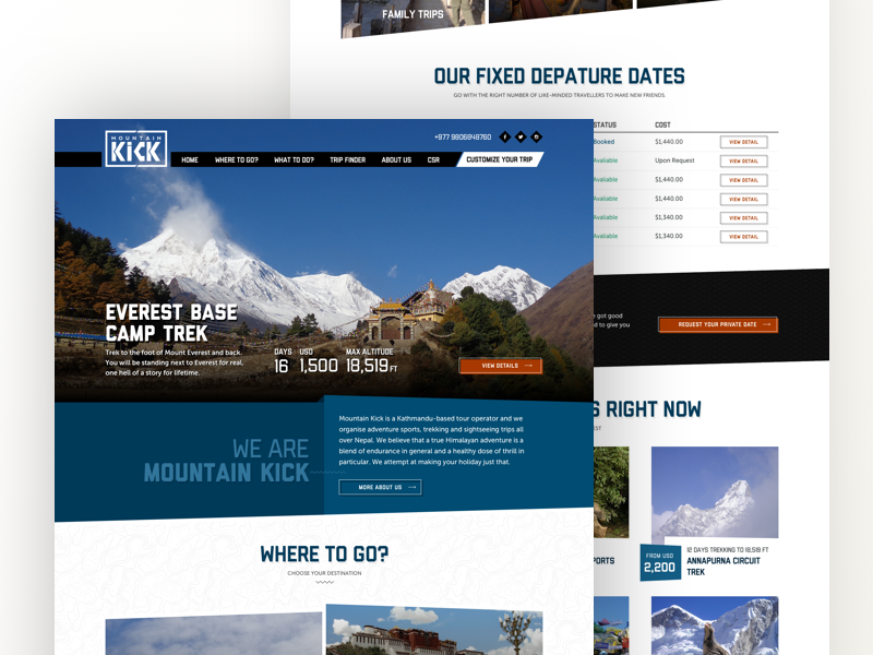 Mountainkick - Travel Homepage button ux ui nepal trek everest landing homepage travel website